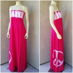 Green Dragon Hot Pink Peace Tie Dye Tube Dress